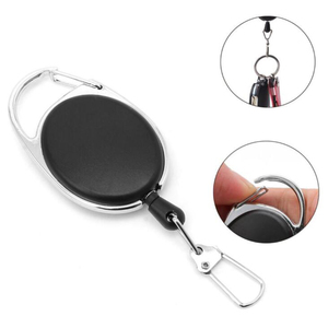 Retractable Pull Key Ring Chain Reel Key Ring Badge Tag Clip Holder Carabiner Reel