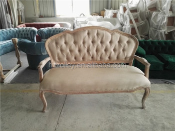 Antique French Style Sofa Classic Wood Frame Fabric Sofa Old Style Sofas