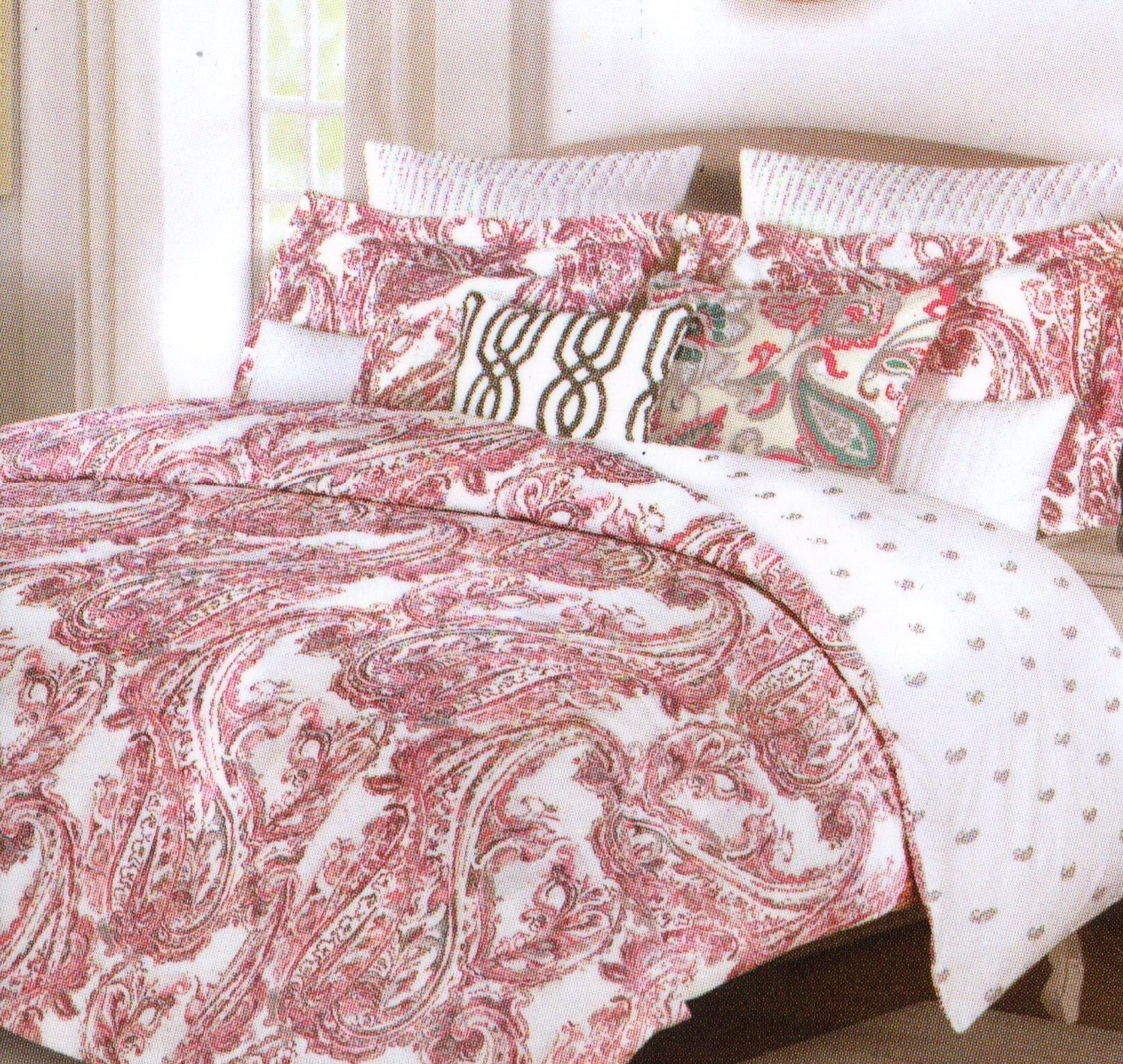 Tahari Home Zanna Paisley Coral Pink Grey Full Queen 3pc Duvet Cover Set Large Scale Floral Paisley Medallion Gray Blush Salmon Pink Sorbet Boteh Style