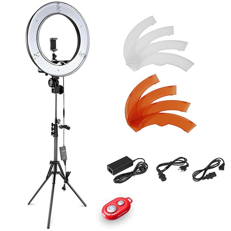 18inch RL-18 photo led ring light dimming brightness camera/studio/video photography lights lamp 5500k with mirror