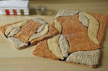 bathroom rug set. Microfiber polyester Bath mat and U shape Mat set  Jacquard custom pattern bathroom rug Set