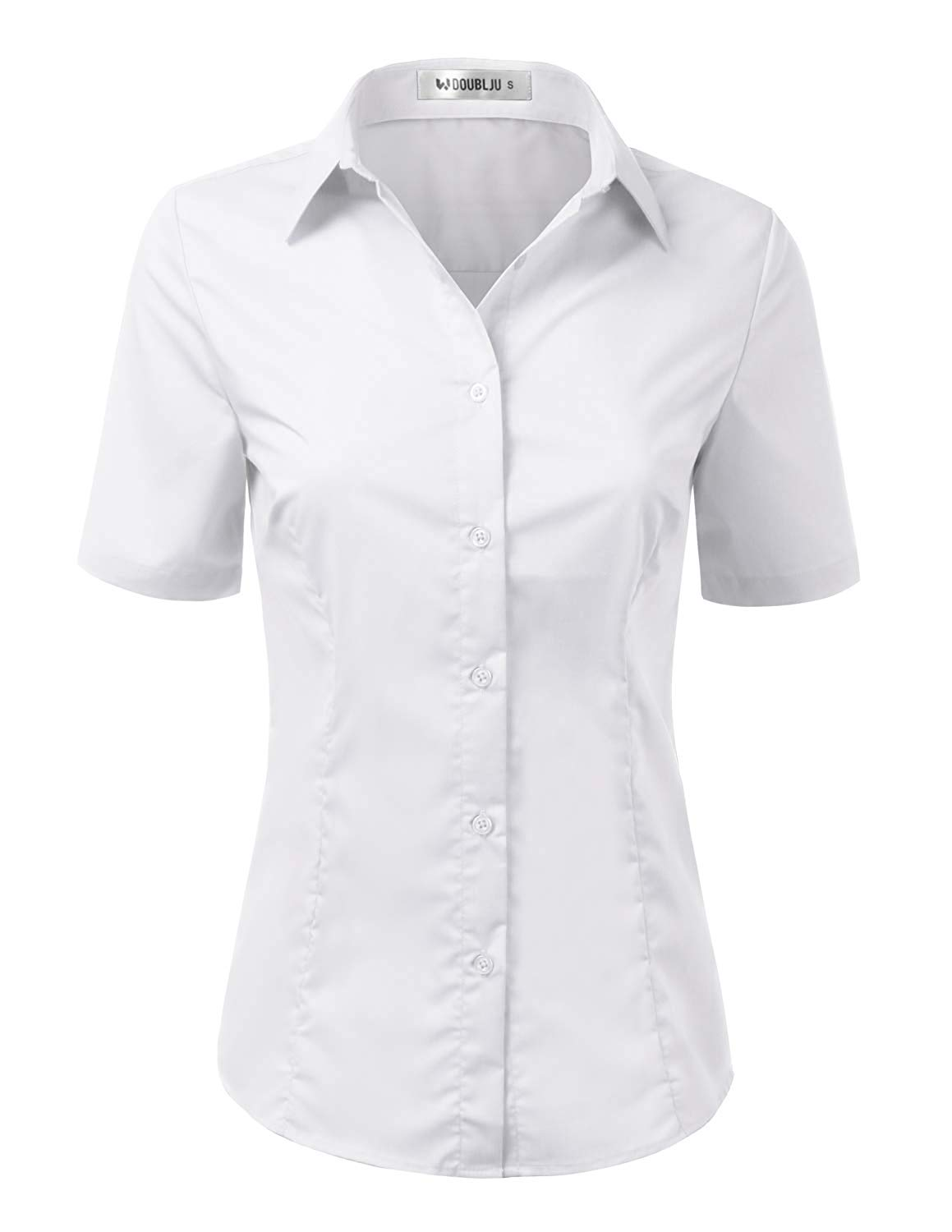 7a5f41063d3112 Get Quotations · Doublju Womens Basic Slim Fit Simple Short Sleeve Button  Down Shirt with Plus Size