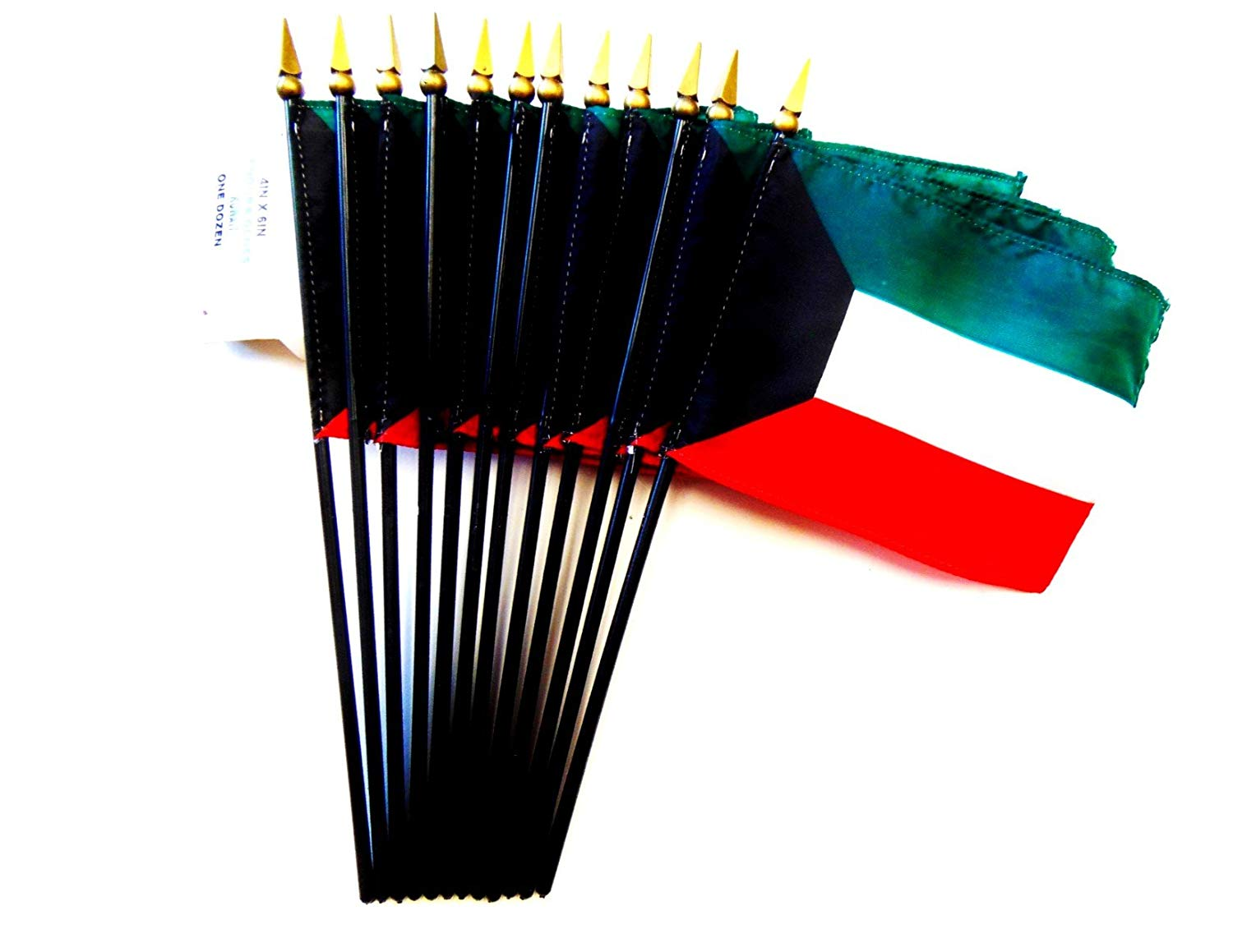 "MADE IN USA!! Box of 12 Kuwait 4""x6"" Miniature Desk & Table Flags; 12 American Made Small Mini Kuwaiti Flags in a Custom Made Cardboard Box Specifically Made for These Flags"