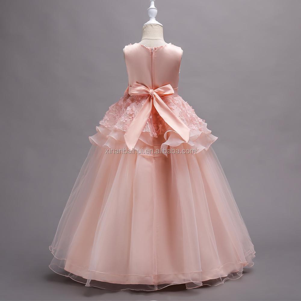 ESTILO OCCIDENTAL muchacha de flor del vestido de boda acodado ...