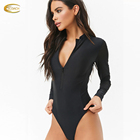 Summer quick dry swimsuit supplier high neck mesh back woman zipper front long sleeve swimsuit