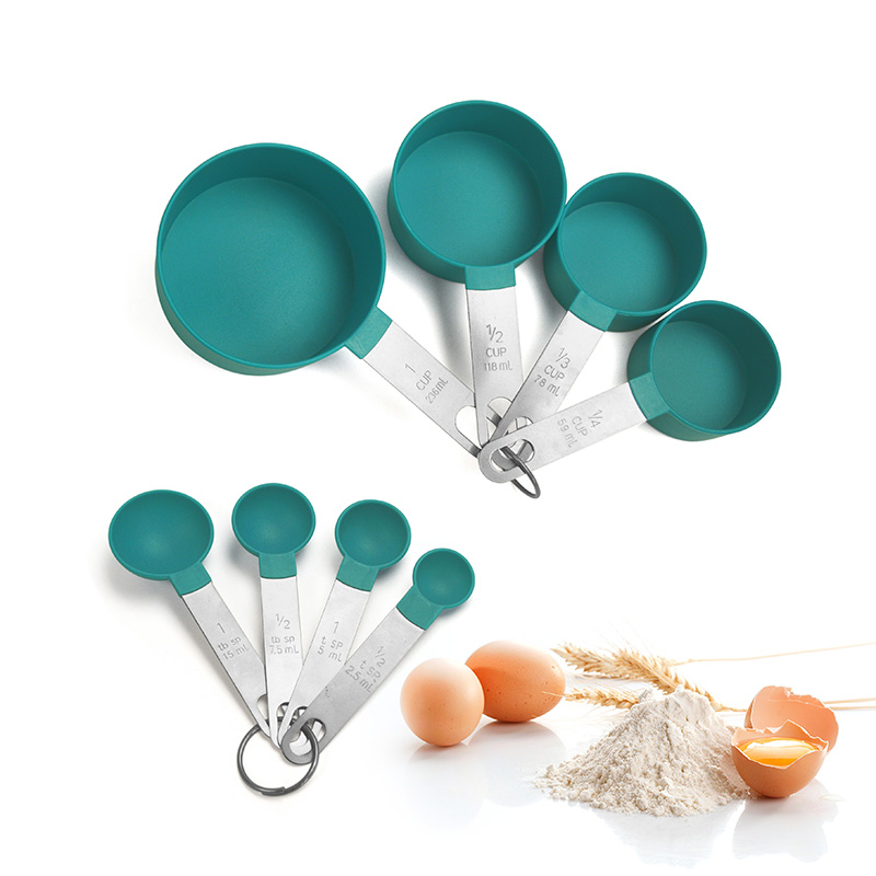 Wholesale Baking Tools Accessory 8-pcs Stainless Steel Handle <strong>Measuring</strong> Cup And <strong>Spoon</strong> Set