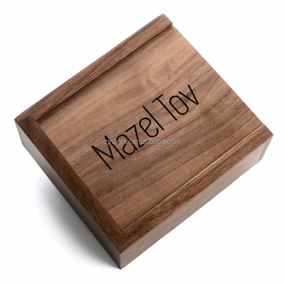 Custom logo sliding black walnut wooden keepsake box gift boxes