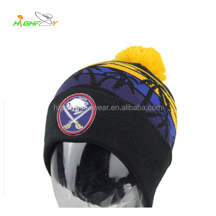 custom embroidery patch logo winter palm pattern jacquard logo knitted beanie hat with pom pom