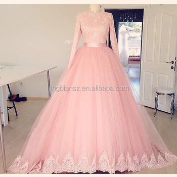 Real Sample High Neck Custom Make Long Sleeves Pink Ic Muslim Wedding Dress Ow588