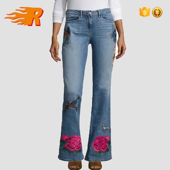 reloj 481ab 19163 2017 De Moda De Alta Rise Embroidered Brazalete Ancho Jeans Para Mujer -  Buy Pantalones Vaqueros,Pantalones Vaqueros De Mezclilla,Pantalones  Vaqueros ...