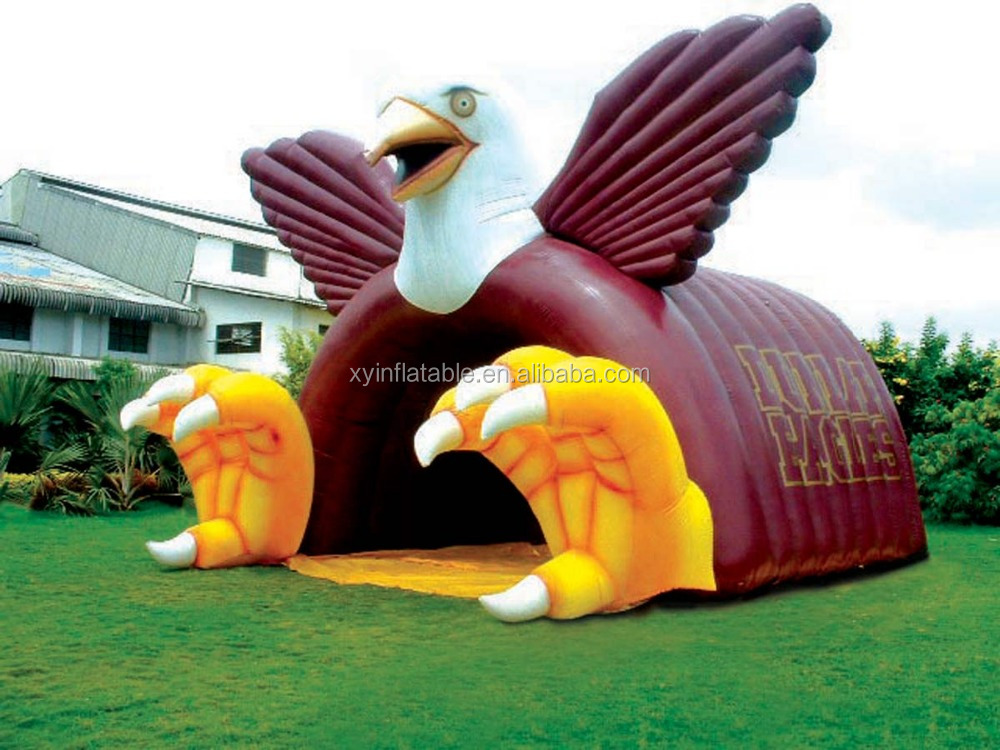 Promotional cheap blcak Eagle inflatable football tunnel for sale