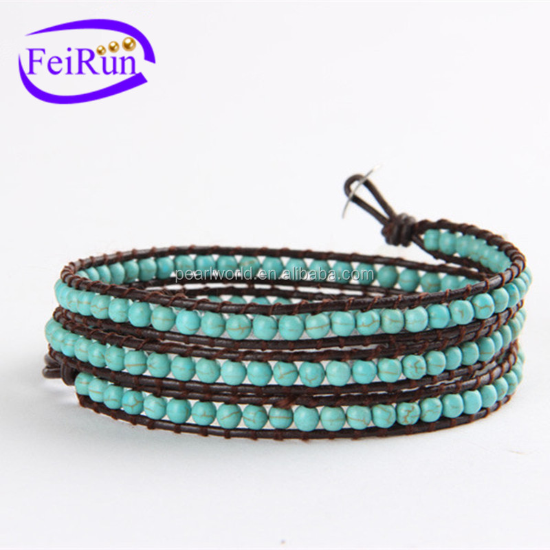 FEIRUN 4mm 3rows natural turquoise peace braided bracelet, natural jade bracelet, natural stone bracelet with tassel