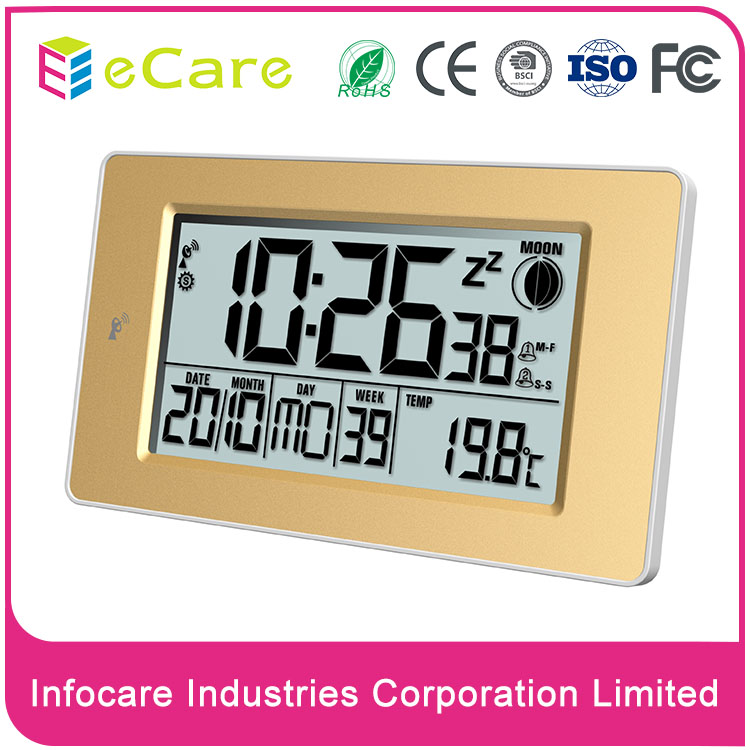 Hot selling classical square digital radio controlled clock for promotion with alarm function