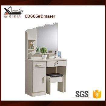 white dressing table of modern furniture dresser with mirror