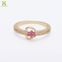 Women fancy rings gold finger ring ruby heart shaped ring