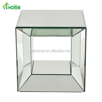 Cheap Narrow Mirrored Cube Side Tables For Home Use