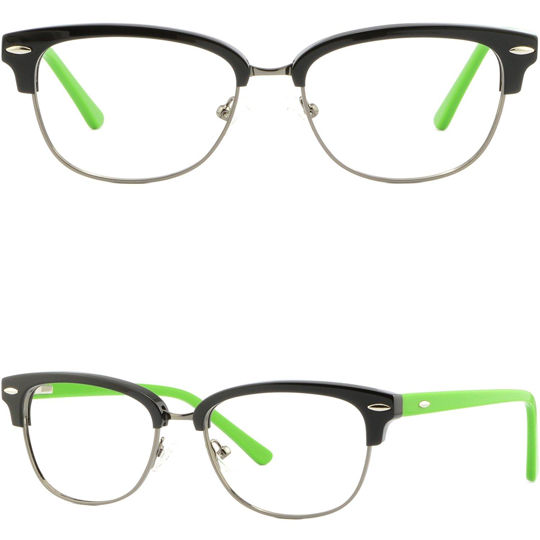 e1b30935daf Get Quotations · Womens Girls Browline Frame Plastic RX Prescription Glasses  Spring Hinges Black