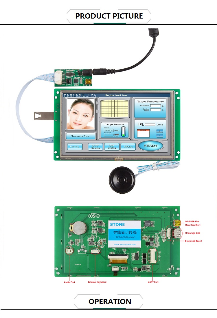 7 inch active matrix TFT color LCD screen module with MCU interface