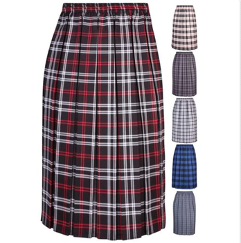 8cc041d9745bd Womens Plus Size Tartan Check Elasticated Waist Box Pleat Ladies Long Skirt