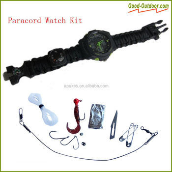 High Quality Personal Paracord Bracelet Survival Kit With Watch