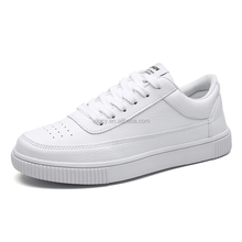 Wholesale Men Casual Shoes Pure White Black Stylish Lace-up Sneakers for Sale