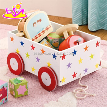 MDF pull and push kids wooden toy box,Wooden Storage Box with 4 Wheels,pulled cart toy W08C128