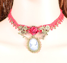 Original Exaggerated European And American Design Retro Copper Rose Flower Ellipse Figure Pendant Red Lace Necklace For Women