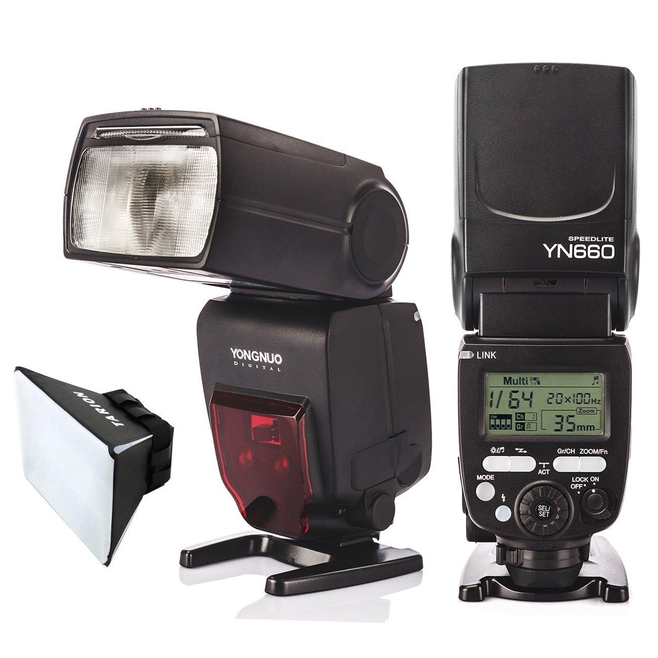 Yongnuo YN660 GN66 Flash Speedlight Flashlight 2.4GHz for Nikon Canon Camera Support YN660 YN560 IV YN560-TX RF605 RF603(II) RF602 Wireless Transmitter with TARION Flash Diffuser