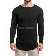 Gym Fitted Longline T-Shirt Mens Curved Hem Long Tee Muscle Bodybuilding Gym T Shirts Cotton Spandex Plain Fitness T Shirt