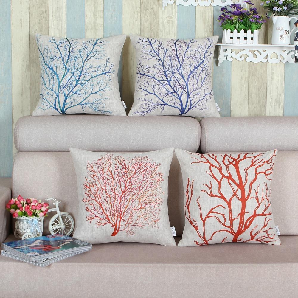 Pillows Shell Cushion Cover Home Sofa Decor Blue Green Red
