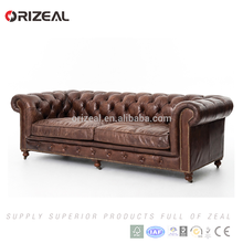 Vintage style living room classic wood frame Antique brown genuine leather chesterfield sofa for sale