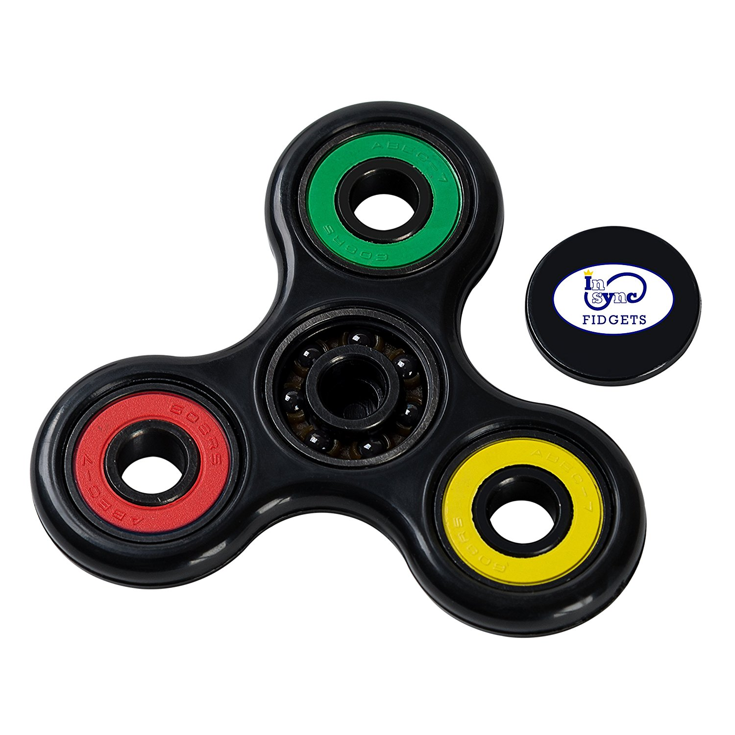 In Sync Fidgets Spinner Fidget Toy EDC High Speed Si3N4 Hybrid Ceramic Ball Bearing ABS non Crack Frame 1 to 3 Min Spins Anxiety Stress Reliever Focus Toy