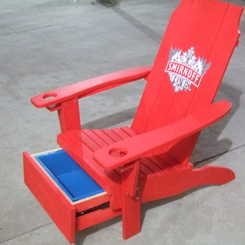 Factory High Quality Adirondack Chair Wood With Cup Holder And Cooler Drawer