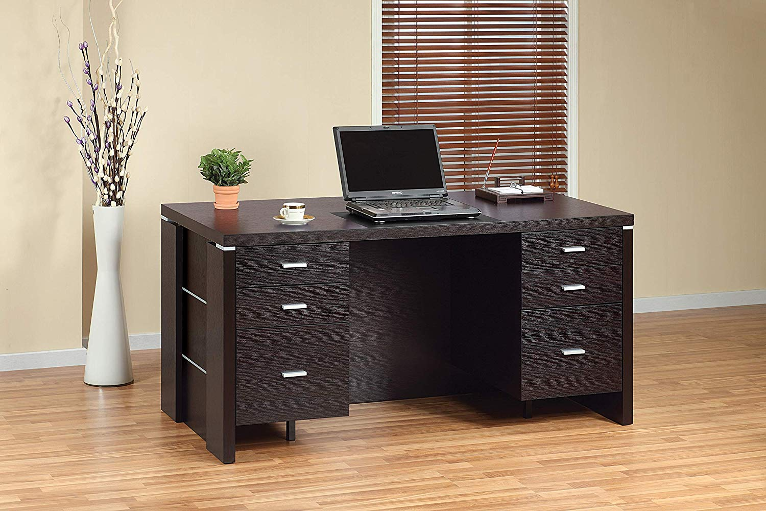 """Major-Q Modern Contemporary Style 30"""" H Home Office Heavy Duty Wooden Desk Workstation Espresso Finish with Drawers (ID8010326)"""