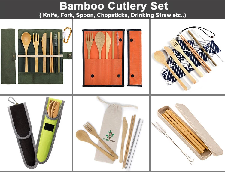 Reusable Bamboo Cutlery Set Fork Knife Spoon Chopsticks Straw Biodegradable