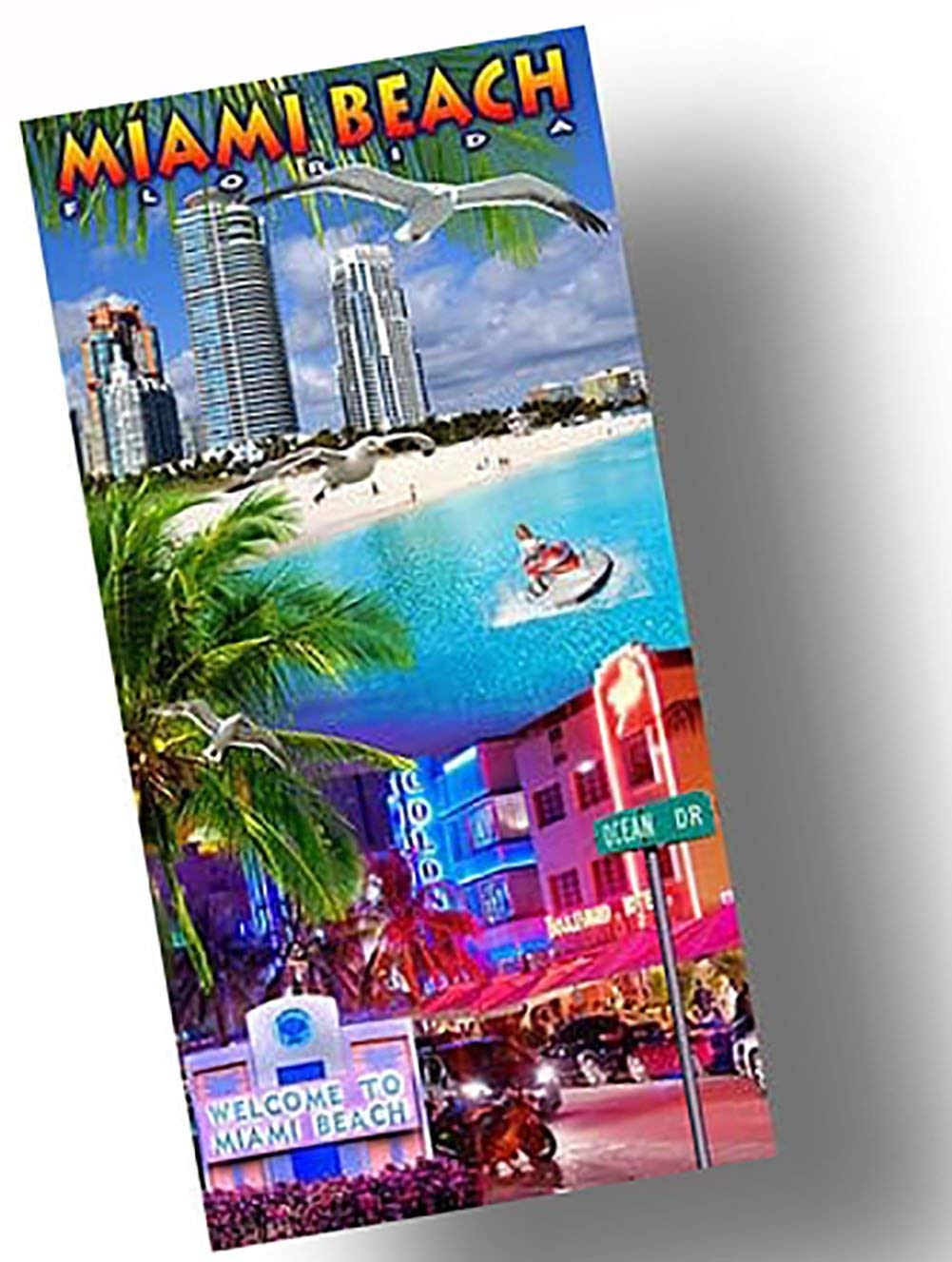 "Custom & Luxurious {30"" x 60"" Inch} 1 Single Large & Thin Soft Summer Beach & Bath Towels Made of Quick-Dry Cotton w/ Citiscape Tropical Vibes Miami Beach Florida Souvenir Style [Multicolor]"