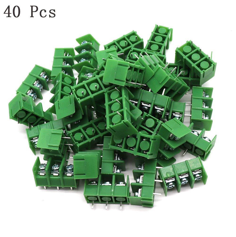 Yootop 40 Pcs 7.62mm/0.3'' Pitch PCB Mount Screw Terminal Blocks 300V 20A