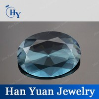 Handcraft cheap price oval faceted spinel blue glass gems