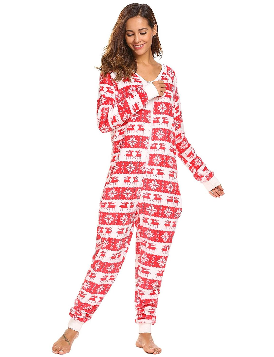 Get Quotations · Vansop Women s Long Sleeve Fleece Onesie Pajama Christmas  Print One Piece Sleepwear e4b50cf5a