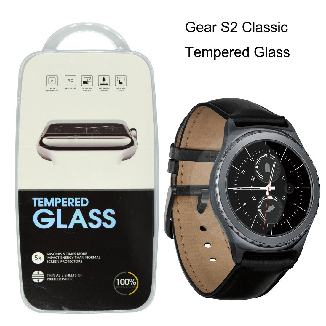 793df05e35c Get Quotations · Icerain Samsung Galaxy Gear S2 Classic Tempered Glass  Screen Protector