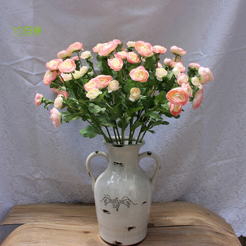 Good Quality Bloom Pink Soft Touch Silk Camellias Artificial Flower Ranunculus