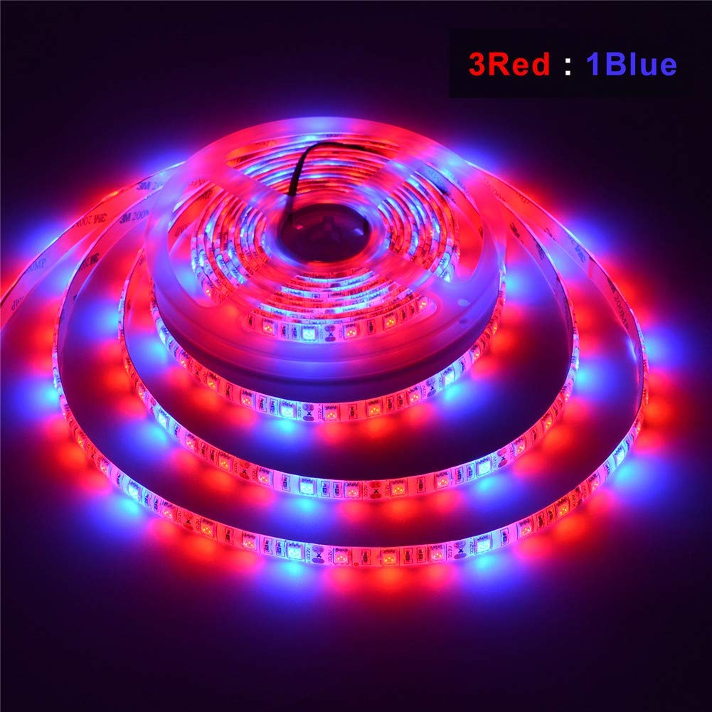 LED Strip Grow Lights, Indoor Plant Light Strip, AIMENGTE 16.4ft/5M LED Rope Light, Flower Plant Phyto Growth Lamps for Greenhouse Hydroponic Veg. (3 Red 1 Blue, Waterproof)