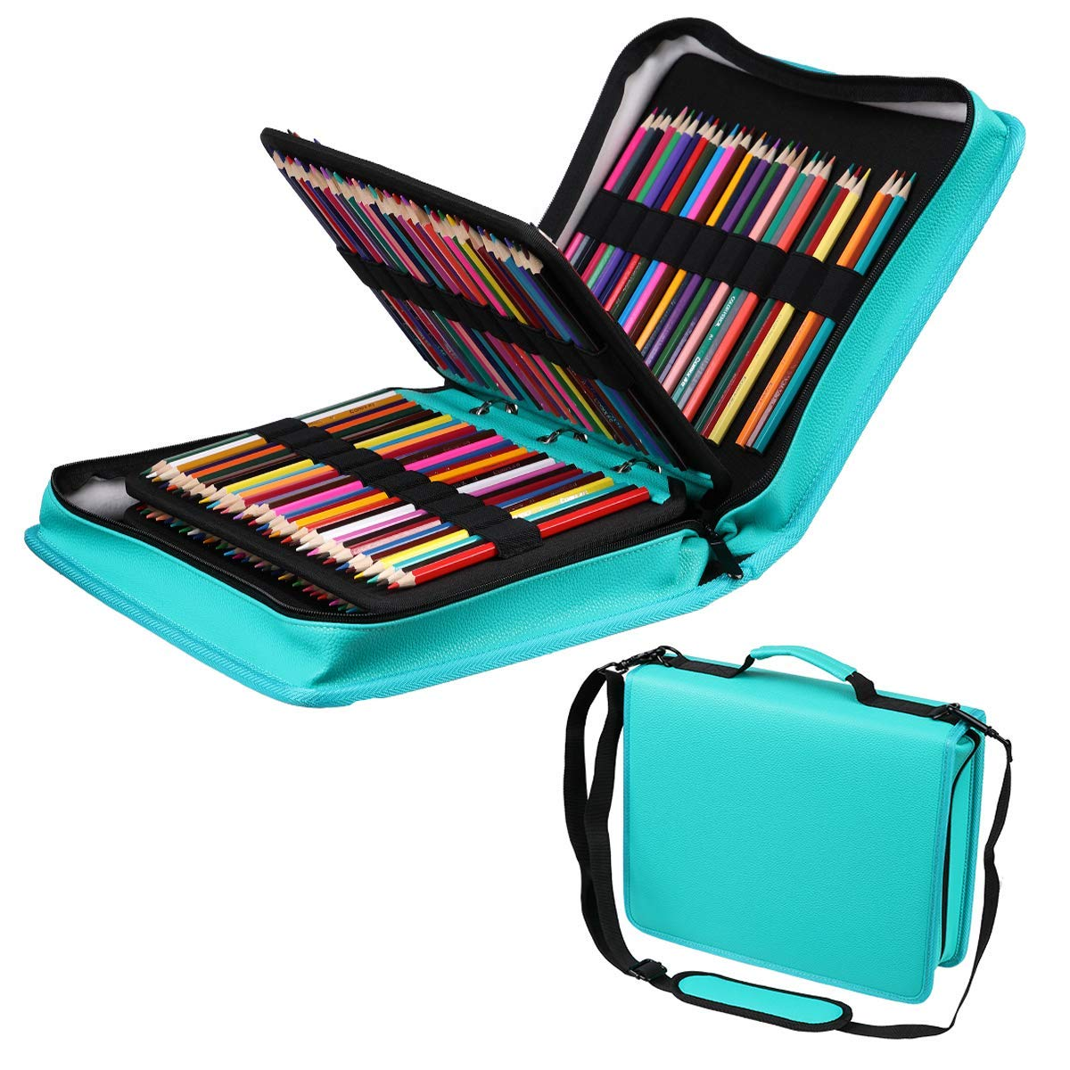 210 Slots Colored Pencils Pencil Case PU Leather Pencil Holder Sleeve Pen Bag with Adjustable Removable Strap Snap Hook for Watercolor Pencils, Colored Pencils, Gel Pens, Cosmetic Brush,Eraser (Green