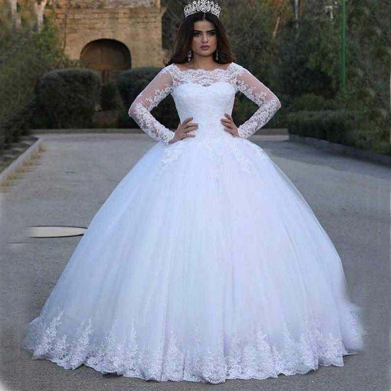 6b77b80c12 LL096 dijo Mhamad blanco boda vestidos Puffy 2017 elegante De manga larga  De encaje apliques princesa