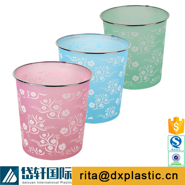 flower printing plastic trash pin for home office