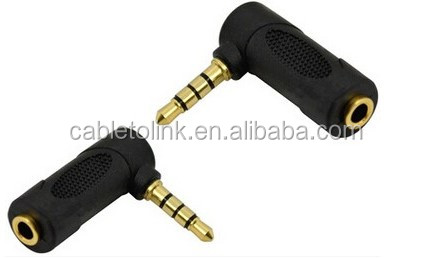 Right Angle Female TRS 1/8-Inch to Sub-3.5mm TRS Male Adapter cabletolinkfactory