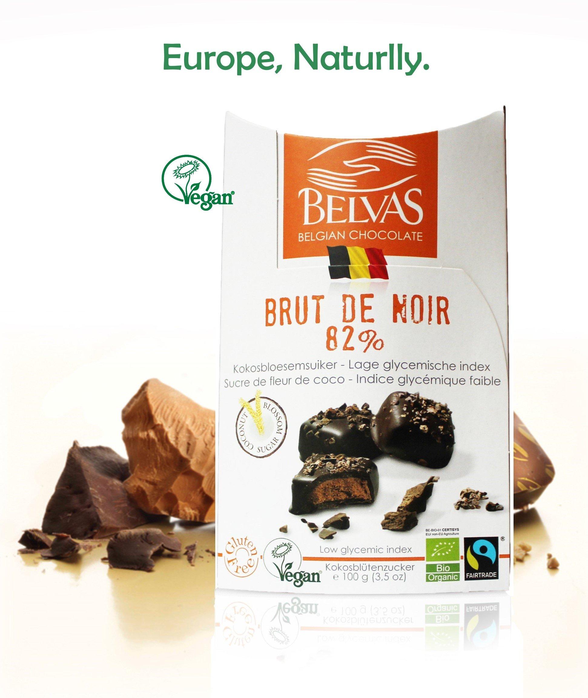 Vegan Chocolate Brut De Noir: Dark & Delicate. Low Glycemic index, Organic, Fair Trade, Gluten Free. Sublime Belgian chocolate. Award winning vegan candy Delights. 3.5oz. Perfect Gift for Vegans.