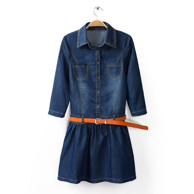 2015 spring women denim dress casual new European style half-sleeved Slim lapel solid washed mini dress with belt l1952