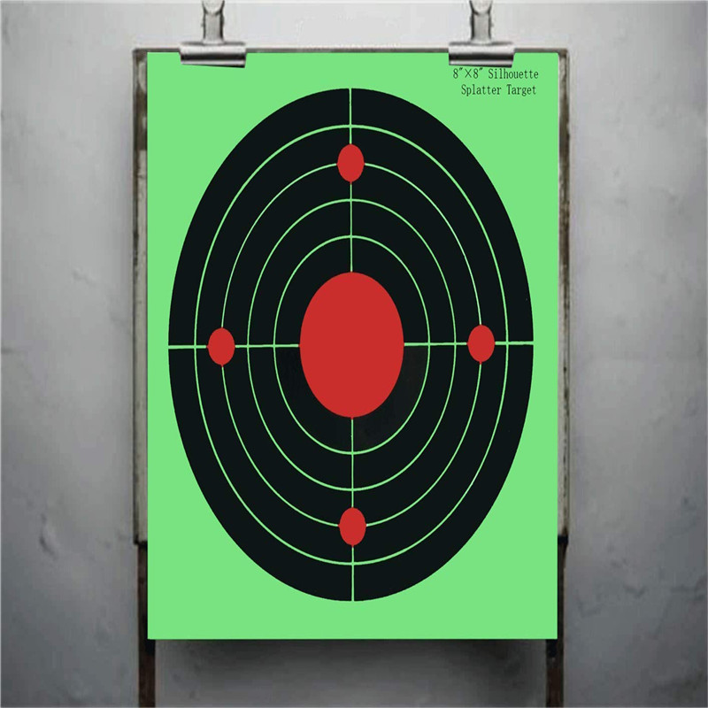 Targets for Shooting - Smart Target Stickers Round Adhesive Shooting Targets - Target Pasters - Fluorescent Red and Black