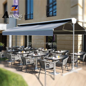 Free Standing Double Sides Balcony Retractable Awning for Sunshade/wind/Rain Sensor